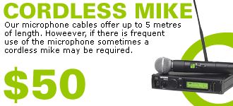 Cordless Microphone $50 Extra
