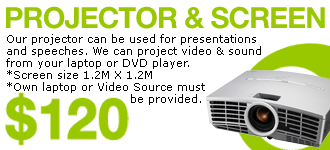 Projector & Screen $120 Extra